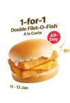 1 for 1 Double Filet-O-Fish A La Carte at McDonald's (via App) [11-13 Jan]