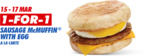 1 for 1 Sausage McMuffin with Egg A La Carte at McDonald's (Via App)