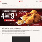 4pcs Meal for $9.90 (38% off) at KFC [Takeaway]