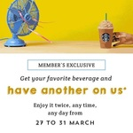 1 for 1 Offers on All Drinks/Beverages at Starbucks (27th to 31st March) for Starbucks Cardholders