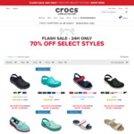 Free Shipping Sitewide (No Minimum Spend) + 70% off Selected Styles at Crocs