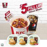 KFC $5 Fill-Up Meals: Spicy Sambal Rice Bucket, Shrooms Fillet Burger, Fish Ole Burger, Crispy Tenders Burger