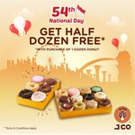 Buy a Dozen Donuts, Get Half a Dozen Free at J.CO Donuts & Coffee (Raffles City & Paya Lebar)