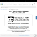 20% off Dining Tables & Chairs at IKEA