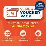 Shopee $2.90 Voucher Pack: $2 off ($20 Min Spend), $15 off Electronics ($140 Min Spend) & 18%/15% Coin Cashback