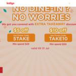 $5 off ($25 Min Spend) or $10 off ($50 Min Spend) on Takeaway at eatigo