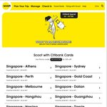 20% off Flights to 22 Selected Destinations from Scoot (Citibank Cards)