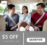 $5 off 3 x uberPOOL Rides