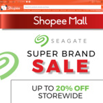 Up to 20% off Storewide + Extra 10% off with Promo Code at Seagate via Shopee