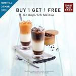 Buy 1 Get 1 Free  Ice Kopi Or Teh Melaka By Showing Facebook Post @ Toast Box (All Locations)