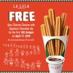 Free 6pcs Churros Clasicos with Signature Chocolate Dip at Churreria La Lola (Jewel Changi Airport)