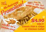 Classic Fish & Chips or Chicken Cutlet for $4.90 at Fish & Chicks