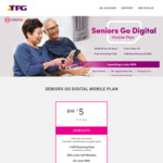 S$5 for Age ≥ 60 with TPG 20GB Per 30 Days at 4G Speeds, 300 Min Calls + 30 SMS to Local Numbers + 1GB Roaming Data