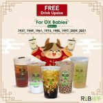 Free Drink Upsize for Those Born In The Year of The Ox from RB Tea