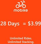 28 Day Mobike Pass for $3.96 via Shopee