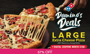Large Extra Cheese Pizza for $14.95 (U.P. $34.40) at Domino's via Fave