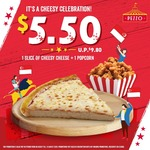 Slice of Cheesy Cheese Pizza + Popcorn for $5.50 (U.P. $9.80) at Pezzo Pizza
