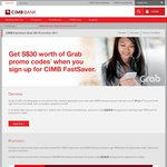 $30 Worth of Grab Promo Codes Free When Opening a CIMB FastSaver Savings Account