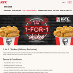 1 for 1 Chicken at KFC Delivery (after 9pm Daily)