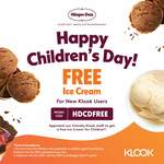 Free Scoop of Haagen-Daas for New Klook Users and Children under 12 Yrs for Children's Day