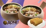 1-for-1 Dried Scallop Mushroom and Shredded Chicken Porridge and Soya Ring Roll ($11.43) at A-One Claypot House via Fave