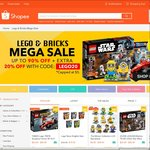 Up to 90% off  + Extra 20% off at Shopee 'Lego & Bricks Mega Sale' (Capped at $5)