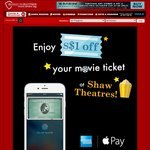 Shaw Theatres - $1 off 2D Movie Tickets with Apple Pay (American Express Card Holders)
