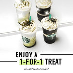1 for 1 Venti-Sized Drinks/Beverages at Starbucks (Tuesday 22nd to Thursday 24th May, 3pm to 5pm)