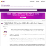 TPG Mobile: 50GB Plan for $10/30 Days