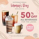 50% off All Beverages at The Coffee Bean & Tea Leaf (For Women)