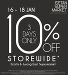 Isetan Scotts and Jurong East Supermarket 10% off Store-Wide (Some Exclusions) until 18 Jan