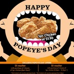 5pcs Chicken for $5.90, Plus Bonus $5 Voucher with Purchases of 2 Boxes* at Popeyes (Popeyes Day)