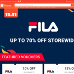 Up to 70% off Storewide + Extra 10% off ($1 Min Spend) or 15% off ($100 Min Spend) at FILA via Shopee