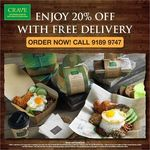 20% off + Free Delivery at CRAVE Nasi Lemak & Teh Tarik (Weekdays, 2pm to 5pm)