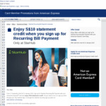Sign Up to StarHub Recurring Bill Payments, Get $10 Statement Credits (American Express Cards)