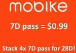 7 Day Mobike Pass for $0.99 via Shopee