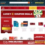 """""""Lucky 8"""" Coupon Deals for Various Stores on Lazada - $8 to $15 off Storewide (Min. $60 to $100 Spend)"""
