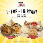 1 for 1 Biryani at Prata Wala (Tuesday 10th April, Facebook Required)