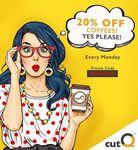 20% off Coffee at cutQ [Mondays]