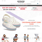 $15 off ($50 Min Spend) or $30 off ($75 Min Spend) at Crocs