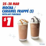 $1 Small Mocha/Caramel Frappe with Any Purchase at McDonald's (via App)