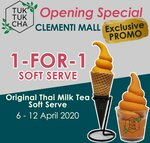 1 for 1 Thai Milk Tea Ice Cream at Tuk Tuk Cha (Clementi Mall)