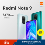 Redmi Note 9 (3+64GB) at $179 from Shopee