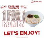 1 for 1 Ramen at Ippudo (Westgate)