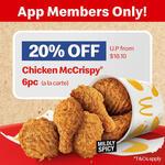 6pc Chicken McCrispy A La Carte for $14.48 (20% off) at McDonald's via App