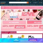 Lazada - 15% off (New Customers) or 10% off (Existing Customers)