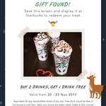 Buy 2 Drinks Get 1 Free at Starbucks