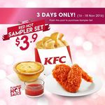 KFC Red Hot Sampler Set for $3.90 (Red Hot Chicken Wing Piece, Cheese Tart and Potato Winders)