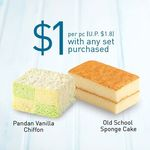 Slice of Pandan Vanilla Chiffon or Old School Sponge Cake for $1/Piece (U.P. $1.80) with Any Meal Set Purchased at Toast Box