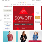 ESPRIT Flash Sale - 50% off Storewide, Plus an Extra 10% off & Free Gift with $100+ Spend - 11.11